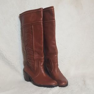 Fossil Felicia Cognac Brown Woven Leather Boots